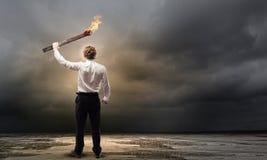 Homme avec la torche Photographie stock