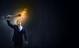 Homme avec la torche Photos stock