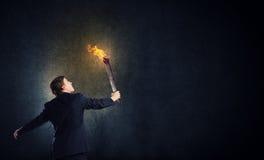 Homme avec la torche Photographie stock libre de droits