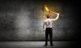 Homme avec la torche Image libre de droits