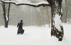 Homme avec la valise marchant dans la neige Images libres de droits