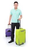 Homme avec la valise prête à aller Image libre de droits