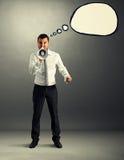 Homme avec le ballon de la parole criant Image libre de droits