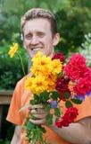 Homme avec le bouquet Images libres de droits