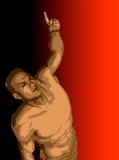 Homme avec le bras augmenté et l'indication par les doigts. illustration stock