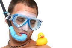 Homme avec le canard Photos stock