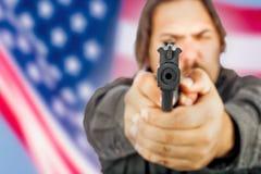 Homme avec le canon image libre de droits
