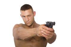 Homme avec le canon Images libres de droits