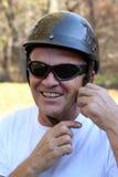 Homme avec le casque Image libre de droits
