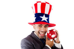 Homme avec le chapeau américain Images stock