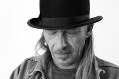 Homme avec le chapeau de lanceur Images libres de droits