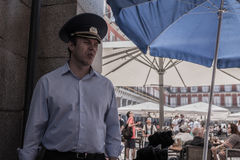 Homme avec le chapeau militaire russe Image stock