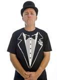 Homme avec le chapeau noir d'isolement sur le blanc Photos libres de droits