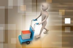 Homme avec le chariot pour livrer des livres Images stock