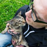 Homme avec le chat Photographie stock