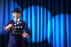 Homme avec le clapet de film Image libre de droits