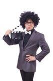 Homme avec le clapet de film Photo stock