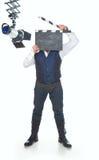 Homme avec le clapperboard Photographie stock