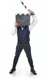 Homme avec le clapperboard Photos libres de droits