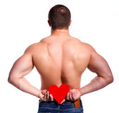 Homme avec le coeur photos stock