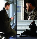 Homme avec le collage de téléphone Photo libre de droits