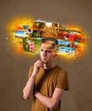 Homme avec le concept rougeoyant coloré de souvenirs de photo Images libres de droits