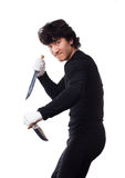 homme avec le couteau sur un blanc Photos stock