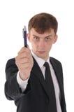 Homme avec le crayon lecteur Photo stock
