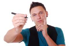 Homme avec le crayon lecteur images stock