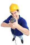 Homme avec le foret de pouvoir Image stock