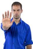 Homme avec le geste d'arrêt Images stock