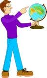 Homme avec le globe Image libre de droits