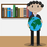 Homme avec le globe Image stock