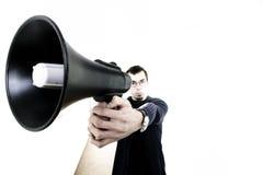 Homme avec le haut-parleur Images libres de droits