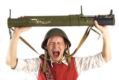 Homme avec le lance-roquettes Images libres de droits
