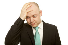 Homme avec le mal de tête Photo stock