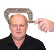 Homme avec le mal de tête, la pression ou l'effort. photo libre de droits