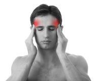 Homme avec le mal de tête sur le fond blanc photos stock