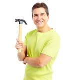 Homme avec le marteau Photographie stock