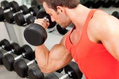 Homme avec le matériel de formation de poids sur la gymnastique de sport photographie stock libre de droits
