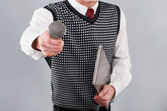 Homme avec le microphone Images stock