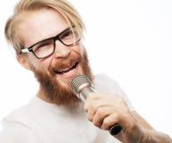 Homme avec le microphone Image stock
