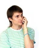 Homme avec le mobilophone Photo libre de droits