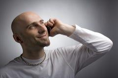 Homme avec le moblie Photo libre de droits