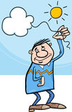 Homme avec le nuage sur la bande dessinée de ficelle Photos stock
