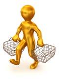 Homme avec le panier du consommateur illustration de vecteur