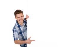 Homme avec le panneau blanc Images stock