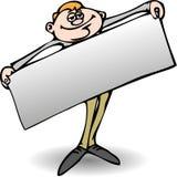 Homme avec le panneau des textes Image stock