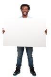 Homme avec le panneau-réclame blanc image stock
