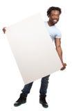 Homme avec le panneau-réclame blanc image libre de droits